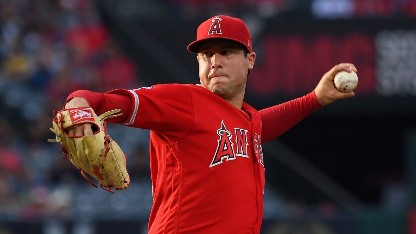 Angels left-hander Tyler Skaggs labored through 4 1/3 innings, issuing four walks and giving up two hits. He was charged with two runs.