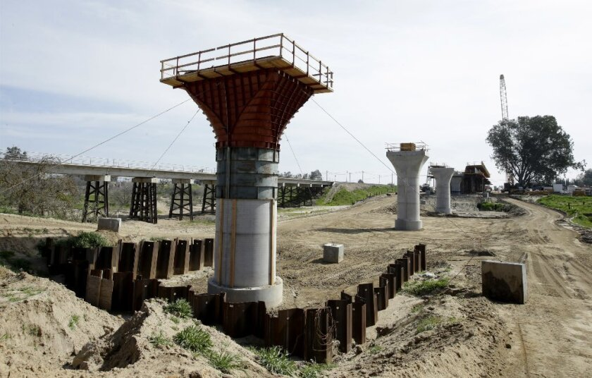 Supports for a 1,600-foot-viaduct to carry high-speed rail trains across the Fresno River.