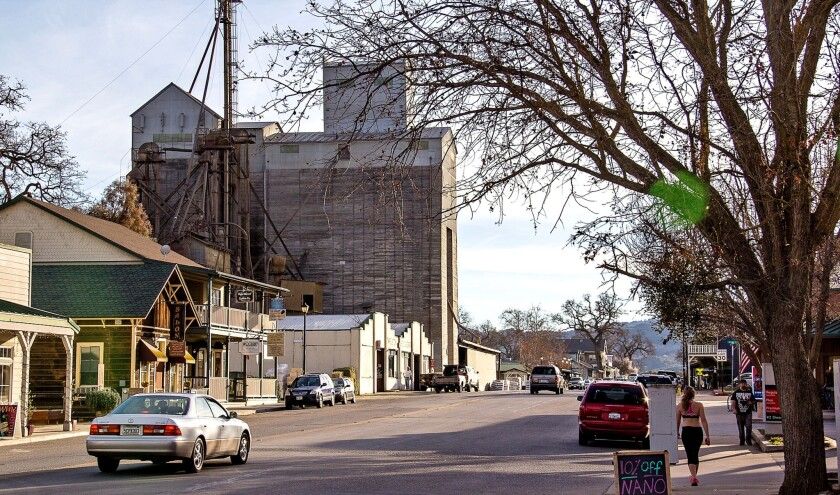 Downtown Templeton still has a rustic, frontier-town feel, signified by its still-active grain elevator.