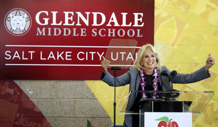 First lady Jill Biden speaks during a visit to Glendale Middle School in Salt Lake City, Wednesday, May 5, 2021. Biden visited the school to thank teachers for their diligence and hard work during the pandemic. (Laura Seitz/The Deseret News via AP)