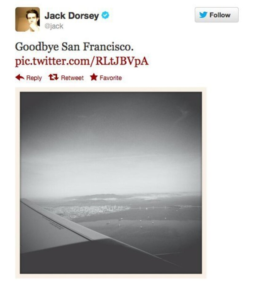 Twitter co-founder Jack Dorsey tweeted this picture, possibly after using photo filters being developed by the social network for a possible public release before Christmas.