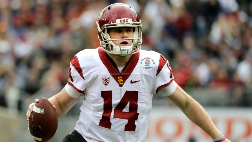 USC quarterback Sam Darnold looks to pass against Penn State during the Rose Bowl game on Jan. 2.