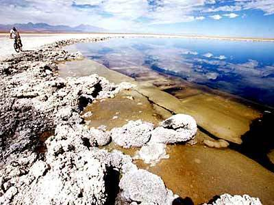 The aquamarine waters of Sejas Lagoon