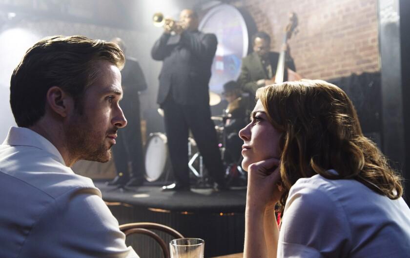 "Ryan Gosling, as Sebastian and Emma Stone, as Mia in ""La La Land."""
