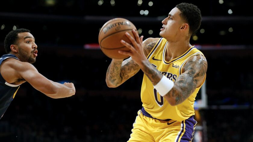 LOS ANGELES, CALIF. -- TUESDAY, OCTOBER 2, 2018: Los Angeles Lakers forward Kyle Kuzma (0) attempts