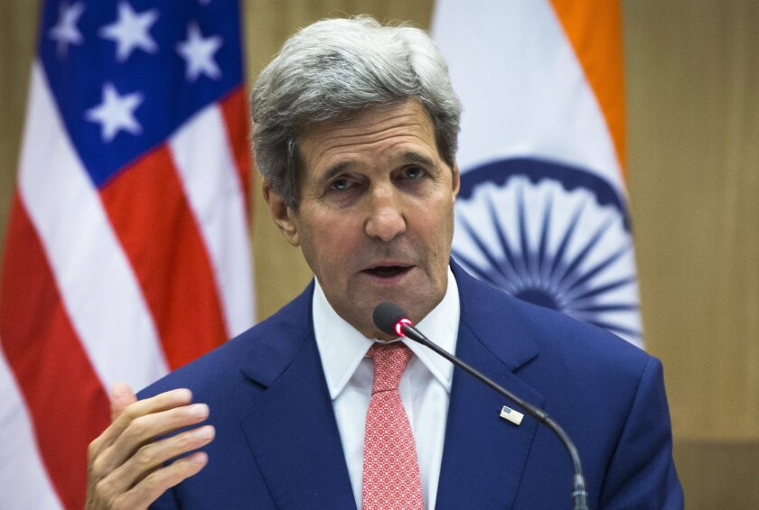 U.S. Secretary of State John Kerry speaks during a press conference addressed jointly with Indian Foreign Minister Sushma Swaraj in New Delhi, India, Thursday, July 31, 2014. This is Kerry's first visit to India following the resounding election win of Prime Minister Narendra Modi in May. (AP Photo