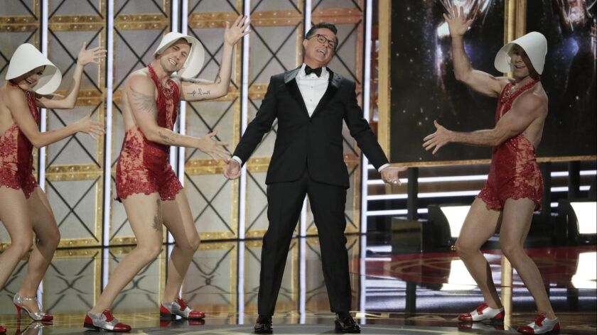 LOS ANGELES, CA., September 17, 2017: A dance performance lead by the host Stephen Colbertduring