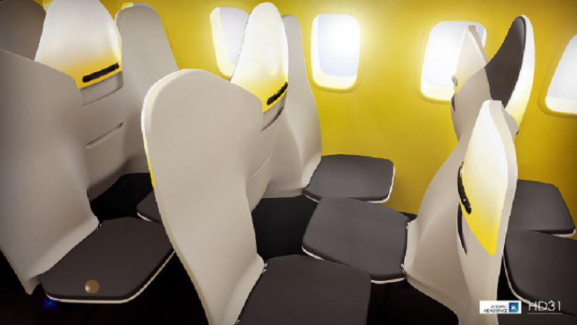 A patent application by Zodiac Seats France calls for a design that puts every other passenger in a row facing backward. The design idea could fit up to 80 more passengers in a plane, depending on the current seat layout.