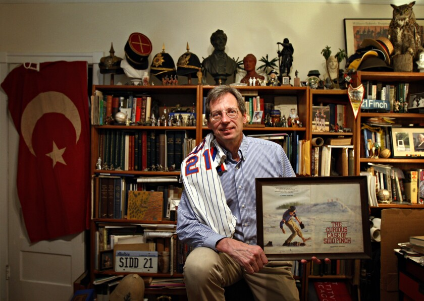 Joe Berton, who posed as Sidd Finch in a 1985 Sports Illustrated hoax, also makes minature war figurines at his Oak Park, Ill., home on March 25, 2011.