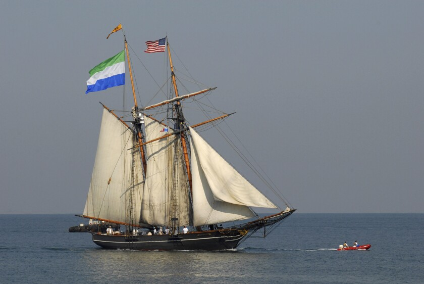 FILE - In this Dec. 9, 2007 file photo shows the Freedom Schooner Amistad, a near-replica of the ship that sparked a 19th century slave revolt, as it sails into port in central Freetown, Sierra Leone. Talladega College on Friday, Jan 31, 2020, was scheduled to dedicate a new museum that will hold paintings which illustrate the story of the Amistad mutiny. Commissioned by the college in 1938 and painted by artist Hale Woodruff, the murals hung in the campus library for nearly seven decades until they were removed for restoration and a national tour in 2008.(AP Photo/Nazia Parvez)