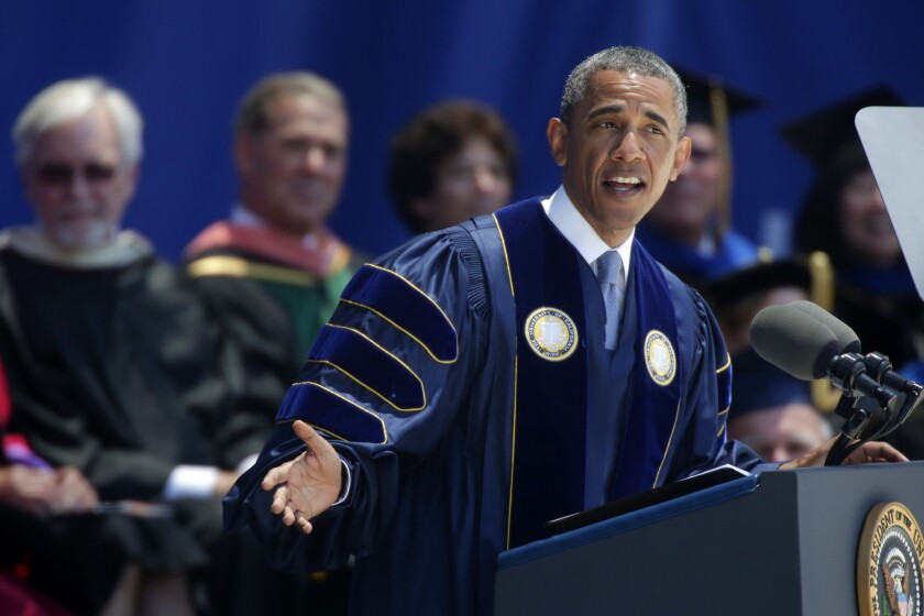 President Barack Obama speaks to UC Irvine's class of 2014 in a commencement ceremony June 14 at Angel Stadium of Anaheim.