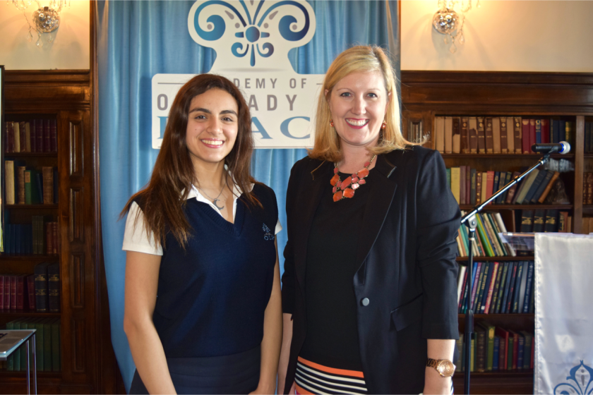 Academy of Our Lady of Peace Head of School Lauren Lek with senior Daniella Gomez-Ochoa who is heading to Harvard in the fall to study neurobiology.