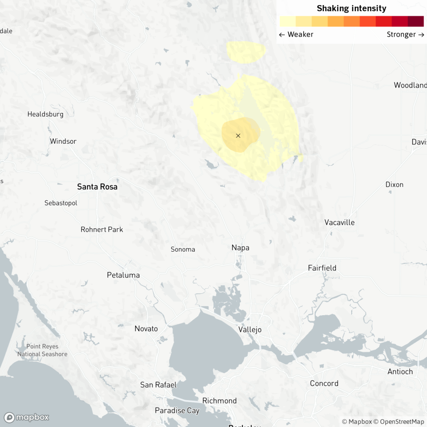 A map showing where the earthquake hit, 14 miles from Napa, Calif., and 16 miles from Santa Rosa, Calif.