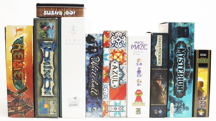 Various board games for a Home section story about board games. (Calvin B. Alagot / Los Angeles Time