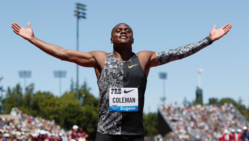 Christian Coleman at 2019 Prefontaine Classic
