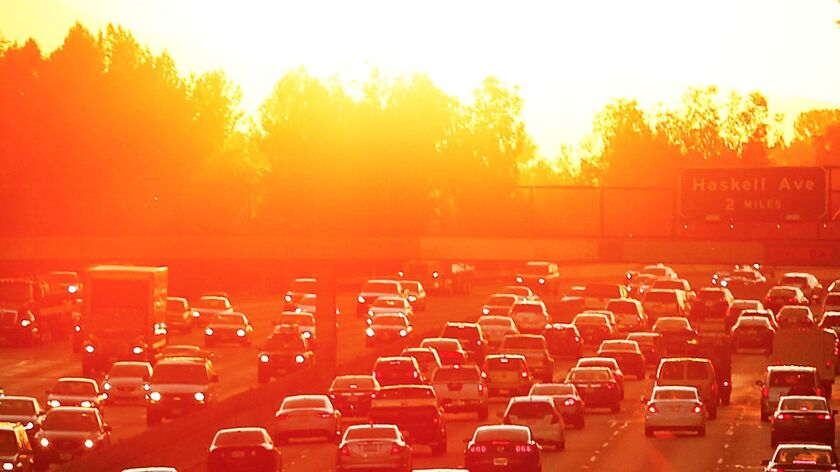Traffic swells in the San Fernando Valley near White Oak on the second day of a heat wave on March 27, 2015.