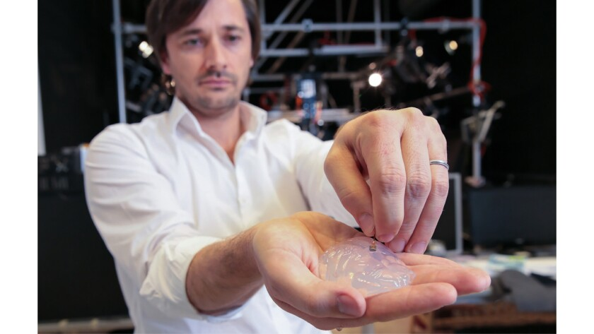 Gregoire Courtine holds a silicon model of a primate's brain and a brain implant. The brain-spine interface uses a microelectrode array like this one to detect spiking activity of the brain's motor cortex.
