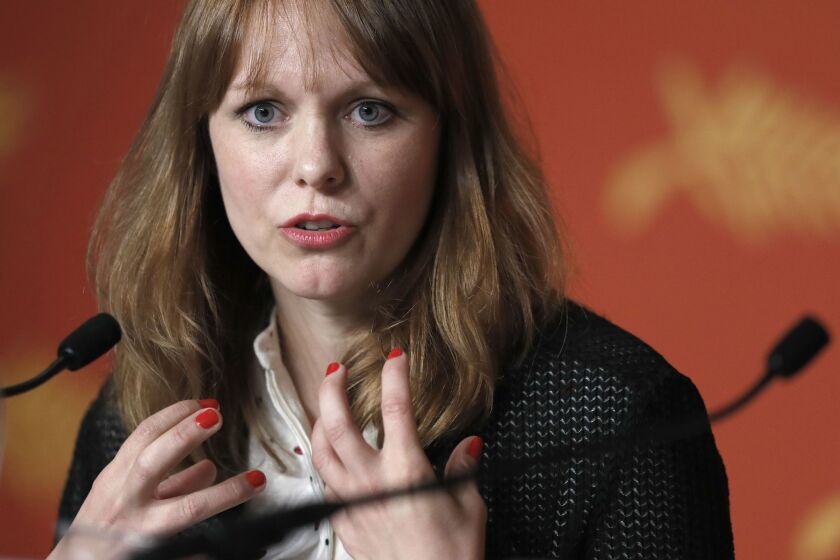 """German director Maren Ade at a press conference for the film """"Toni Erdmann"""" at the 69th Cannes Film Festival in Cannes."""
