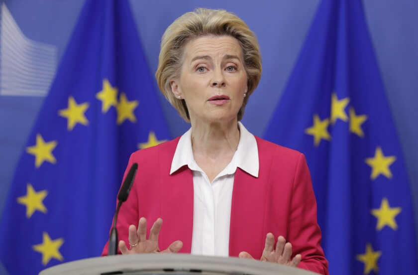 European Commission President Ursula von der Leyen gives a statement at the European Commission headquarters in Brussels, Wednesday, Sept. 23, 2020. (Stephanie Lecocq/Pool Photo via AP)