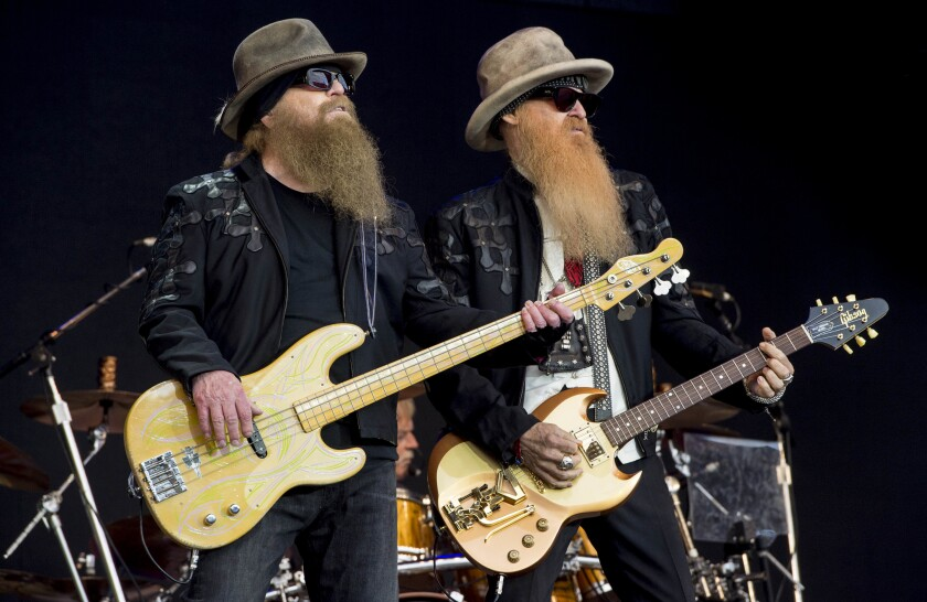 Dusty Hill and Billy Gibbons from ZZ Top perform at the Glastonbury music festival in Somerset, England, June 24, 2016.