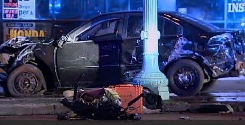 A suspected drunken driver slammed his car into a light pole, trees and a building Thursday night on El Cajon Boulevard.