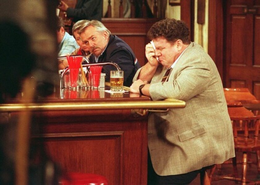 """John Ratzenberger, left, and George Wendt on """"Cheers"""""""