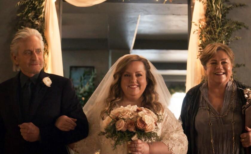 """Michael Douglas. Sarah Baker, and Kathleen Turner in """"The Kominsky Method."""""""