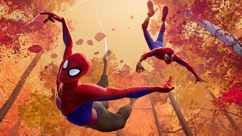 """Peter Parker and Miles Morales in Sony Pictures Animation's Spider-Man: Into the Spider-Verse."""""""