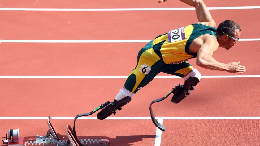 Oscar Pistorius competes in the men's 400-meter heats at the London 2012 Olympic Games.