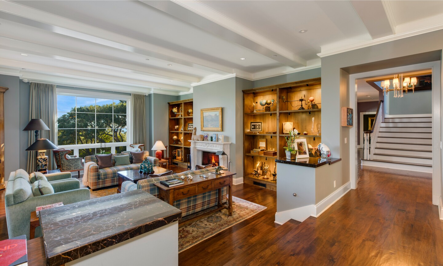 Spanning two acres in the hills of Montecito, the property features a two-story home with lots of outdoor entertaining spaces and a three-car garage with a guesthouse up top.