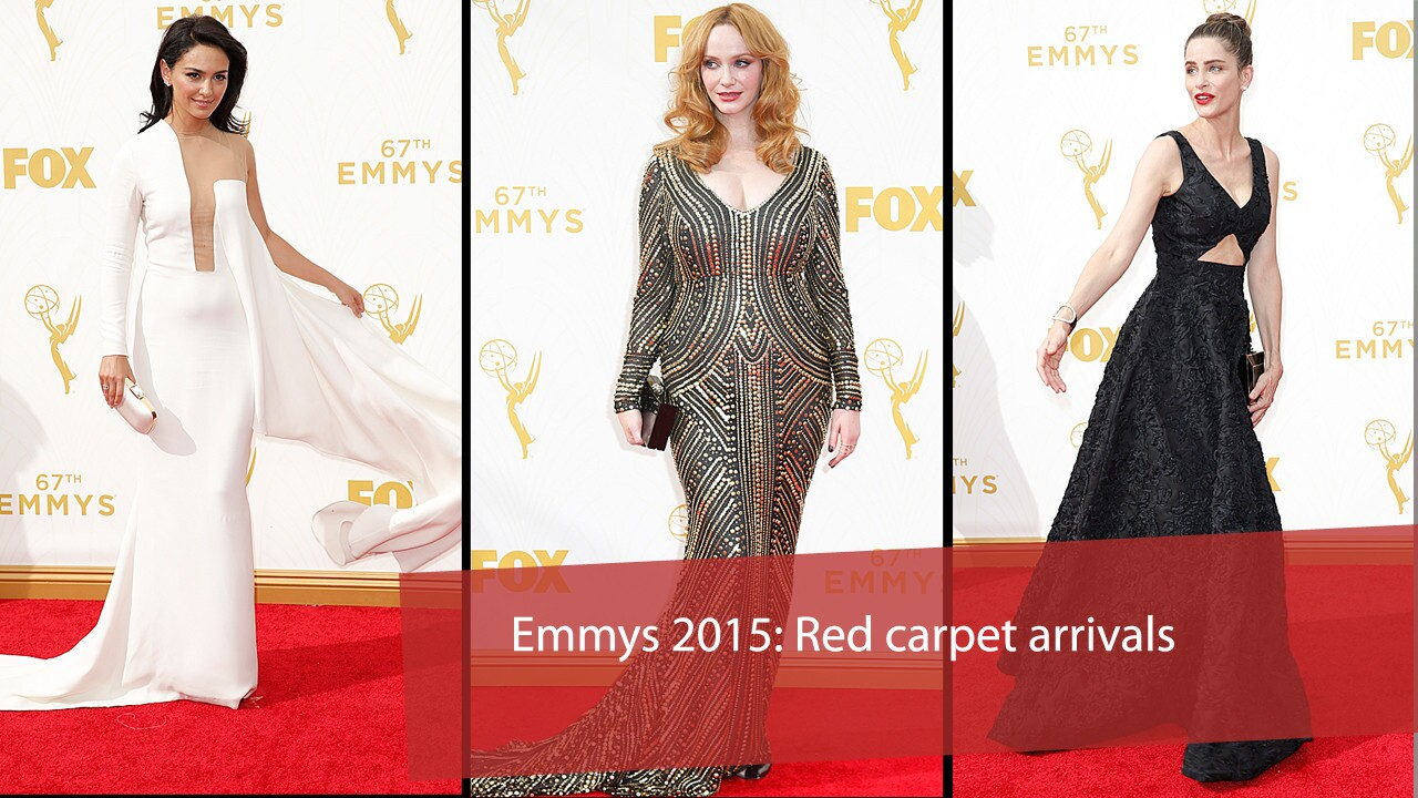 Arrivals for the 67th Primetime Emmy Awards at the Microsoft Theater in Los Angeles. Pictured: Nazanin Boniadi, from left, Christina Hendricks and Amanda Peet on the red carpet.