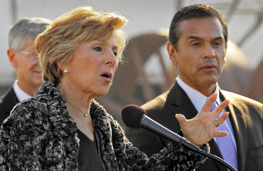 U.S. Sen. Barbara Boxer (D-Calif.) with then-L.A. Mayor Antonio Villaraigosa at a news conference in 2011. His announcement that he is seriously weighing a bid for her Senate seat adds a dynamic new element to what is likely to be a crowded and expensive race.