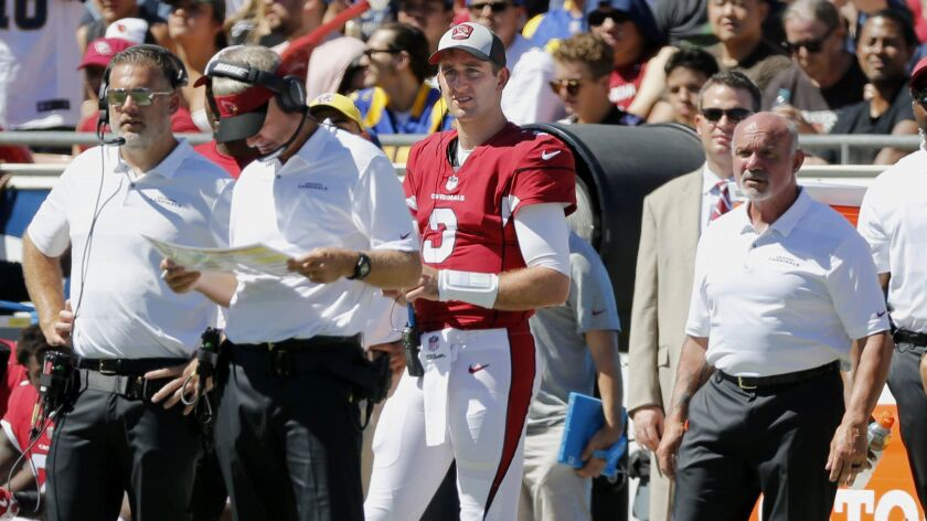 Arizona Cardinals quarterback Josh Rosen (3) during a game played against the Rams at the Coliseum on Sunday.
