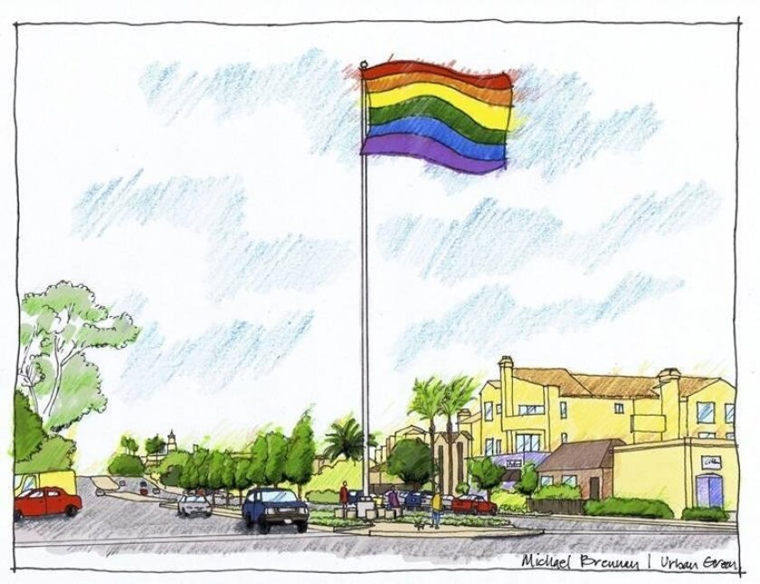An artist's rendering of the Hillcrest Pride Flag at University Avenue and Normal Street.
