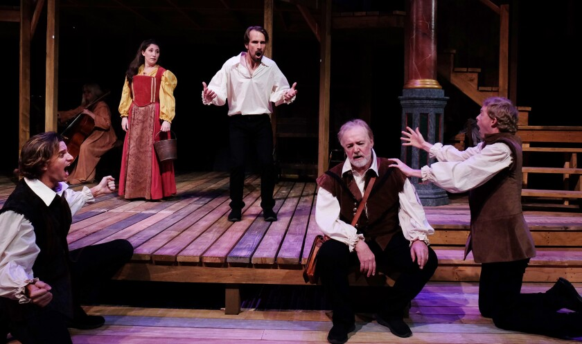 """Ross Hellwig, Caitie Grady, Francis Gercke, Robert Smyth and Brian Mackey (from left) in Lamb's Players Theatre's """"Equivocation."""""""