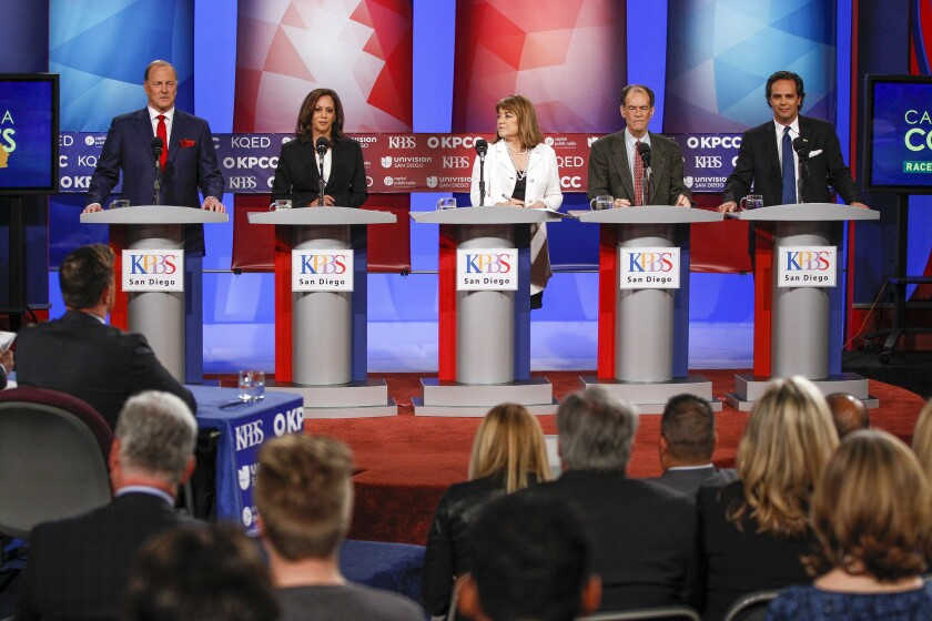 "California Senate candidates George ""Duf"" Sundheim, Atty. Gen. Kamala D. Harris, U.S. Rep. Loretta Sanchez, Ron Unz and Tom Del Beccaro debate last month in San Diego."