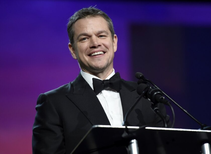 "Matt Damon wins the Golden Globe for lead actor in a musical or comedy motion picture Sunday evening for ""The Martian."""