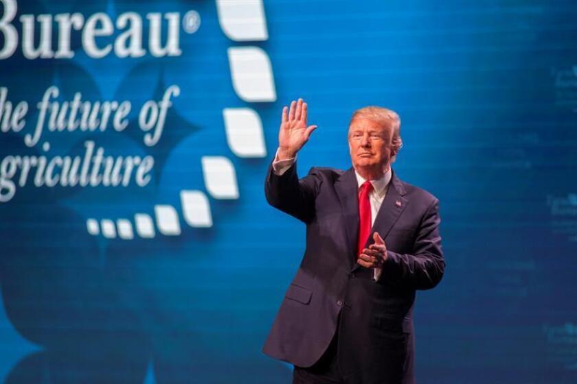 El presidente estadounidense Donald J. Trump participa en una reunión con agricultores y ganaderos en la convención anual de la American Farm Bureau Federation en Nashville, Tennessee, EE. UU., el 8 de enero de 2018. EFE