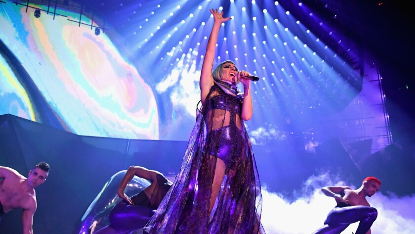 Lady Gaga performs during her Enigma residency at the Park Theater at Park MGM on Dec. 28 in Las Vegas.
