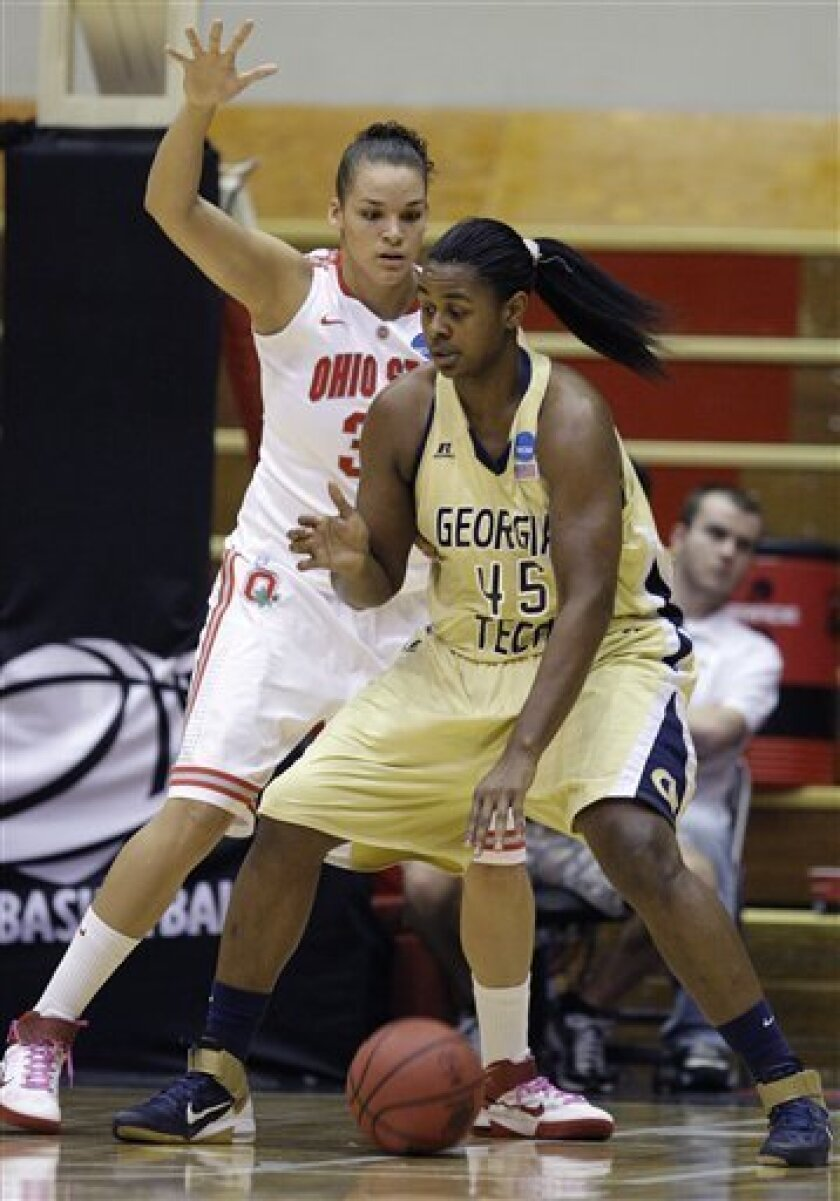 Georgia Tech's Sasha Goodlett, right, posts up against Ohio State's Ashley Adams during the first half of a second-round NCAA women's college basketball tournament game Monday, March 21, 2011, in Columbus, Ohio. (AP Photo/Jay LaPrete)