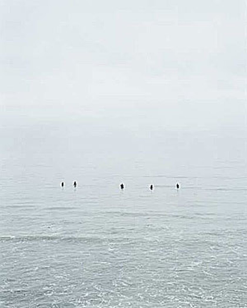 'UNTITLED #10 (SURFERS)': Catherine Opie's 2003 image of early-morning surfers bobbing in the Pacific Ocean along the misty Malibu shore.