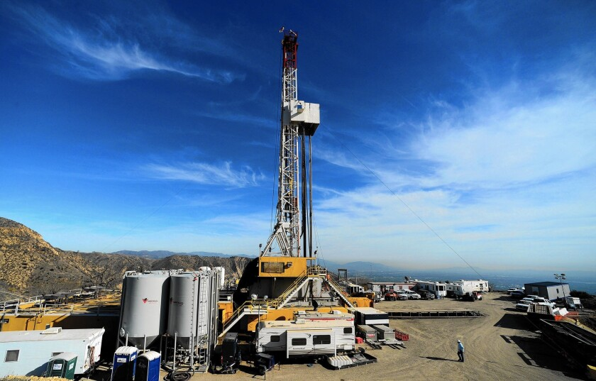 Crews work on stopping a gas leak at the Aliso Canyon facility in December.