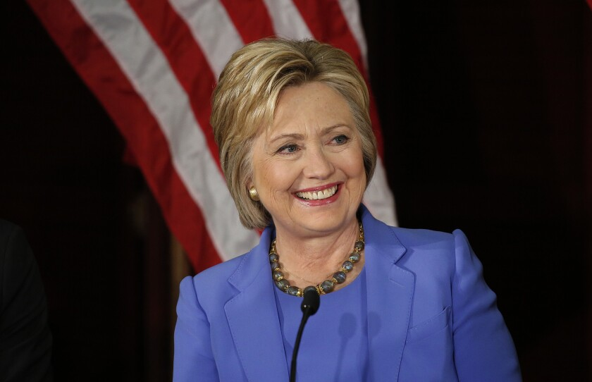 Hillary Clinton campaigns in Los Angeles on March 24.