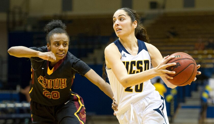 Farrah Shokoor (right) is averaging a double-double for a UCSD women's basketball team that is 21-3.
