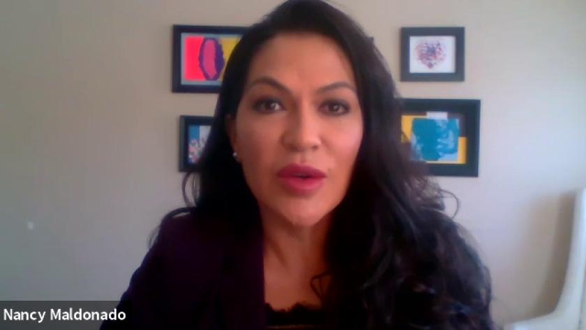 Nancy Maldonado, directora de Chicano Federation en una conferencia de prensa virtual el 26 de junio de 2020.
