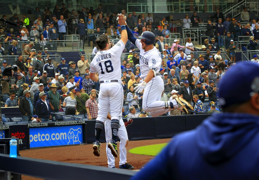 At Petco Park on May 8, Padres Hunter Renfroe hits a solo home run in the 7th inning putting the Padres over the Mets 2-3.