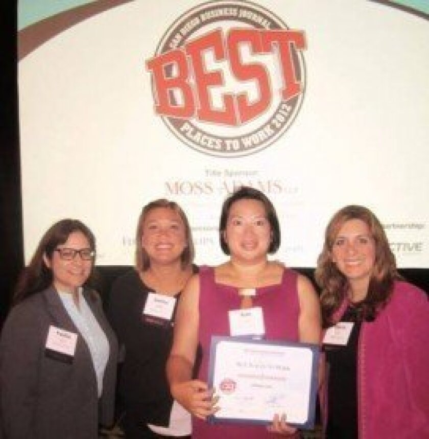 San Diego Business Journal's Best Places to Work award honors Ultimate Labs (left to right): Yvette Lee, Janina Wills, CEO Kim Lim, Gloria Limas An.