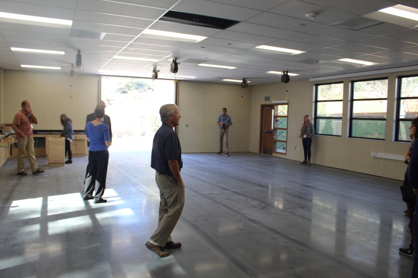 San Dieguito Union High School District's Prop AA tour got a sneak peek at the new maker space at Diegueno.