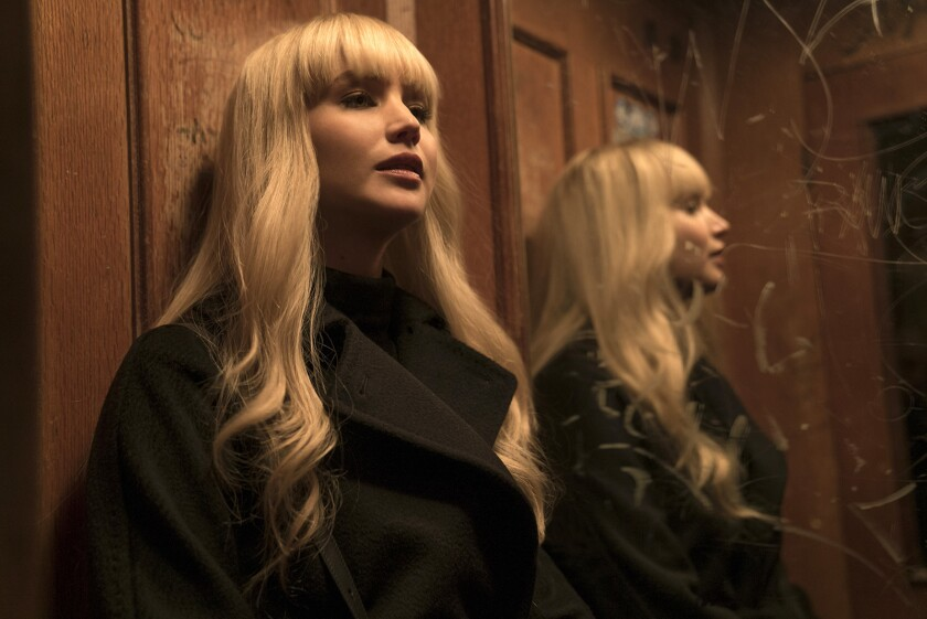 """Jennifer Lawrence stars as a Russian agent in the 2018 espionage thriller """"Red Sparrow"""" airing on Cinemax."""