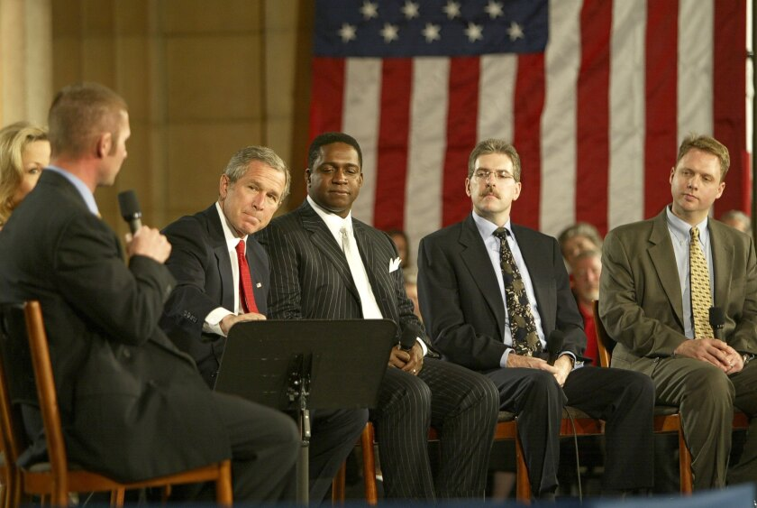 American Enterprise Institute fellow Andrew Biggs, far right, in 2005, when he worked on President George W. Bush's failed Social Security privatization campaign.